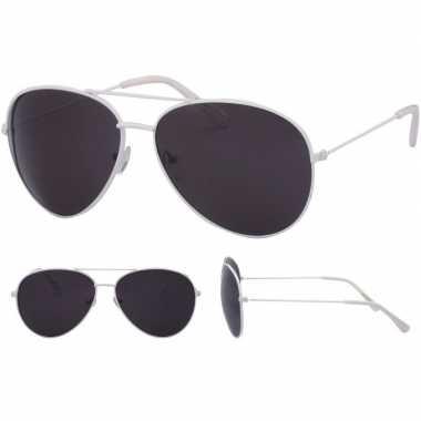Goedkope pilotenbril wit zwarte glazen volwassenen