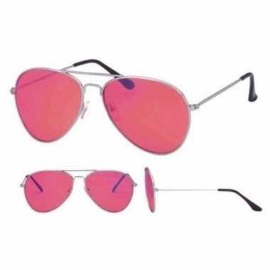 Goedkope pilotenbril zilver roze glazen volwassenen