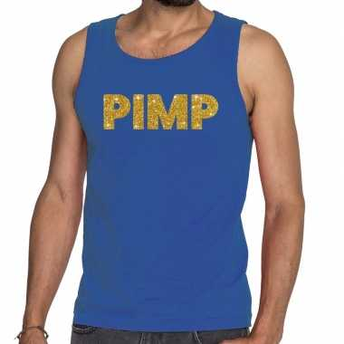 Goedkope pimp glitter tanktop / mouwloos shirt blauw heren
