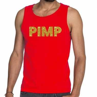 Goedkope pimp glitter tanktop / mouwloos shirt rood heren