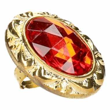 Goedkope pimp ring ovaal rode steen