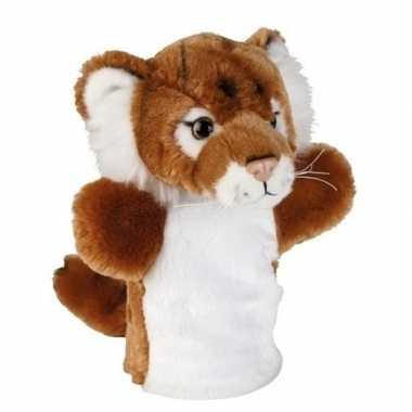 Goedkope pluche bruin/witte tijger handpop knuffel speelgoed