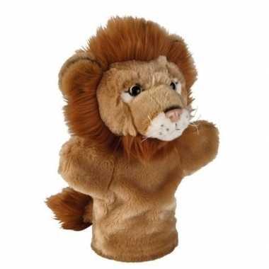 Goedkope pluche bruine leeuw handpop knuffel speelgoed