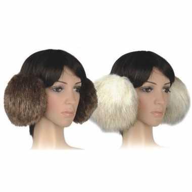 Goedkope pluche extra grote oorwarmers beige dames