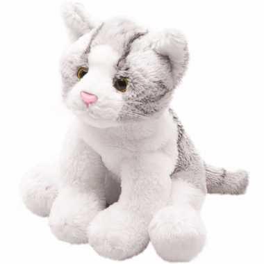 Goedkope pluche grijze poes/kat knuffel zittend