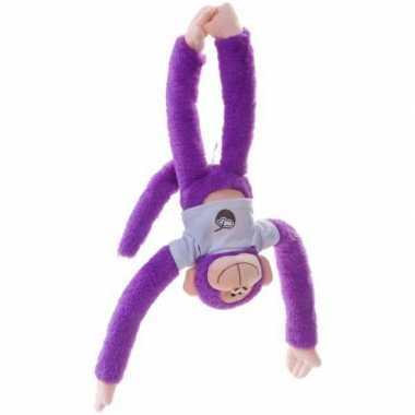 Goedkope pluche hangaapje knuffel paars