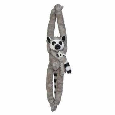 Goedkope pluche hangende grijze ringstaartmaki aap/apen knuffel