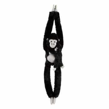 Goedkope pluche hangende zwarte gorilla aap/apen knuffel speelgoed