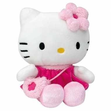 Goedkope pluche hello kitty knuffel fuchsia jurkje