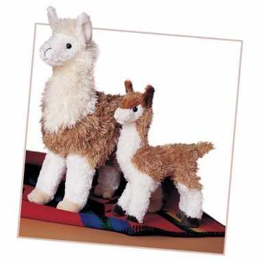 Goedkope pluche knuffel lama bruin/wit klein