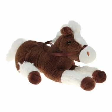Goedkope pluche knuffel paard bruin/wit