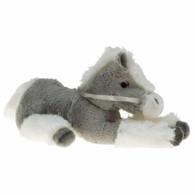 Goedkope pluche knuffel paard grijs/wit