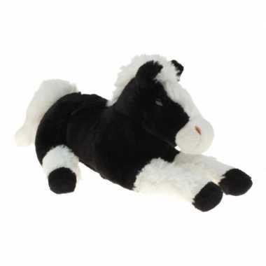 Goedkope pluche knuffel paard zwart/wit