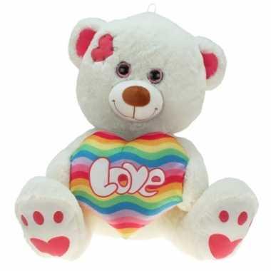 Goedkope pluche knuffelbeer regenboog hart