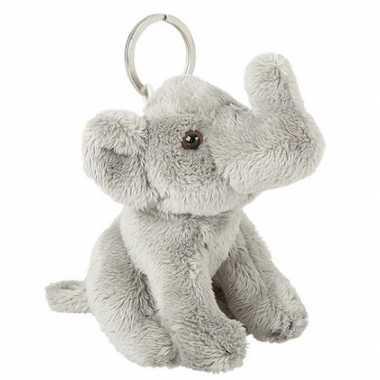 Goedkope pluche olifant knuffel grijs sleutelhanger