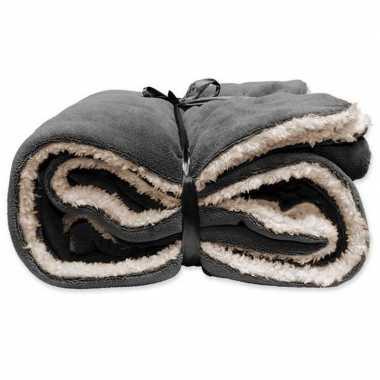Goedkope pluche plaid/deken antraciet grijs