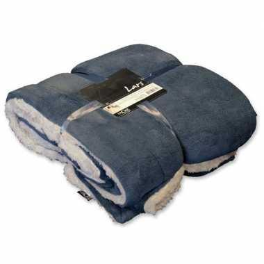 Goedkope pluche plaid/deken grijs blauw