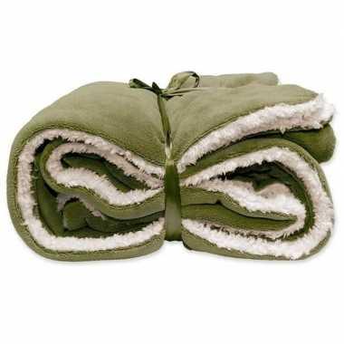 Goedkope pluche plaid/deken olijf groen