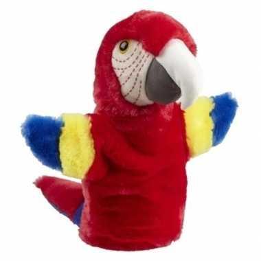 Goedkope pluche rode ara papegaai handpop knuffel