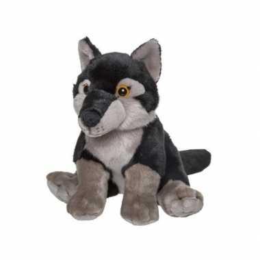 Goedkope pluche wolf knuffel zwart