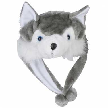 Goedkope pluche wolf muts kinderen