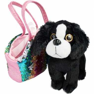 Goedkope pluche zwart/witte cocker spaniel hond knuffel tas