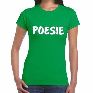 Goedkope poesie tekst t shirt groen dames