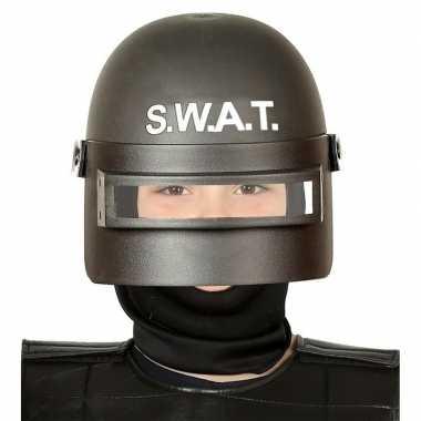 Goedkope politie swat verkleed helm vizier kinderen zwart