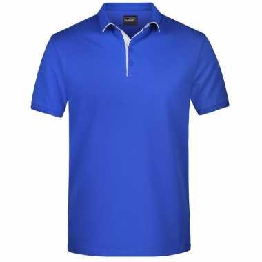 Goedkope polo shirt golf pro premium blauw/wit heren
