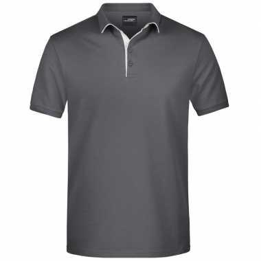 Goedkope polo shirt golf pro premium grijs/wit heren