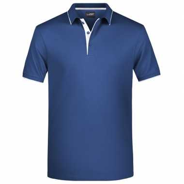 Goedkope polo shirt golf pro premium navy/wit heren