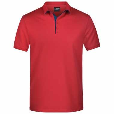 Goedkope polo shirt golf pro premium rood/navy heren