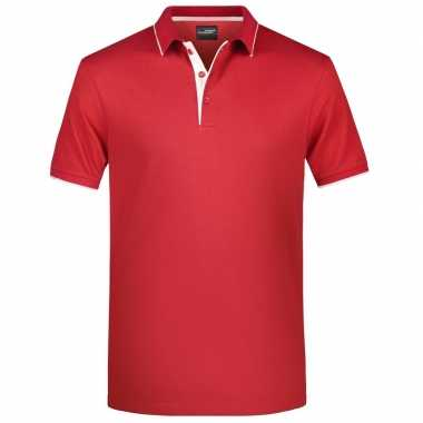 Goedkope polo shirt golf pro premium rood/wit heren