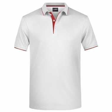 Goedkope polo shirt golf pro premium wit/rood heren