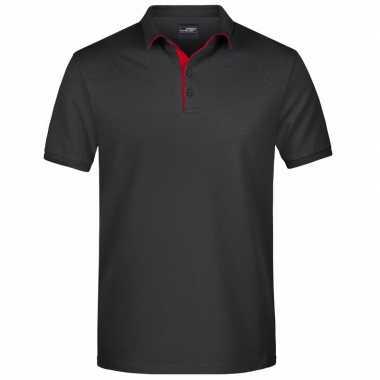 Goedkope polo shirt golf pro premium zwart/rood heren