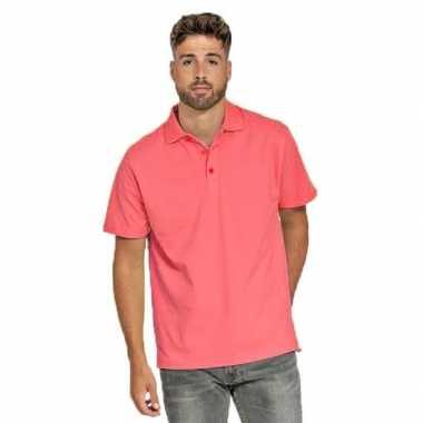 Goedkope polo shirt koraal roze heren