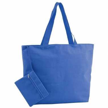 Goedkope polyester blauwe shopper/boodschappen tas