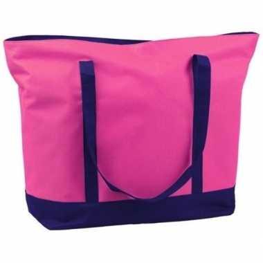 Goedkope polyester fuchsia roze shopper/boodschappen tas