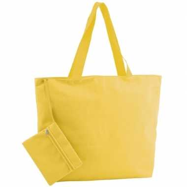 Goedkope polyester gele shopper/boodschappen tas
