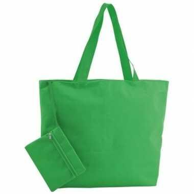 Goedkope polyester groene shopper/boodschappen tas