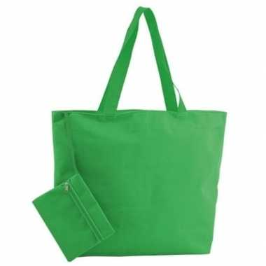 Goedkope polyester groene strandtas
