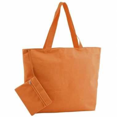 Goedkope polyester oranje shopper/boodschappen tas
