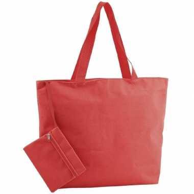 Goedkope polyester rode shopper/boodschappen tas
