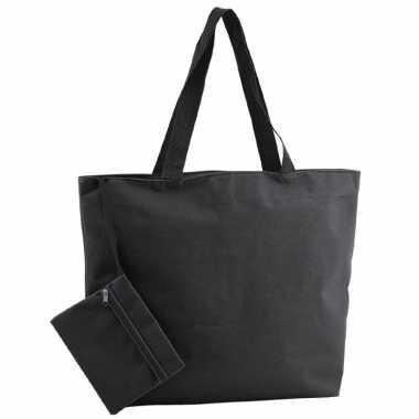 Goedkope polyester zwarte shopper/boodschappen tas