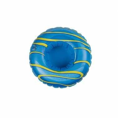 Goedkope poppen/knuffel opblaas zwemband blauw donut
