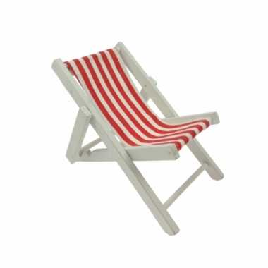 Goedkope poppen speelgoed strandstoel rood/wit gestreept