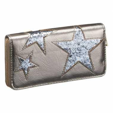 Goedkope portemonnee zilver metallic blauwe ster
