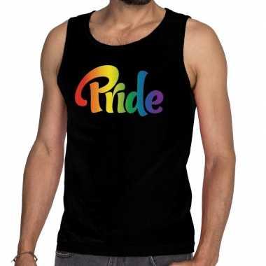 Goedkope pride gay pride tanktop/mouwloos shirt zwart heren