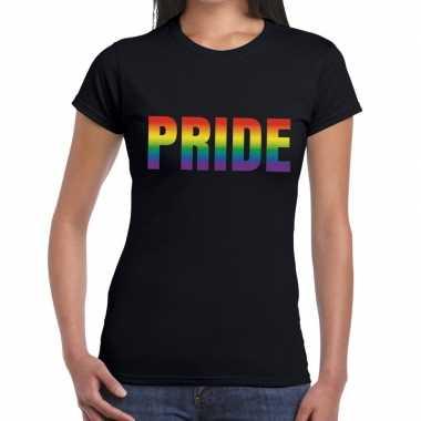 Goedkope pride gaypride shirt zwart dames