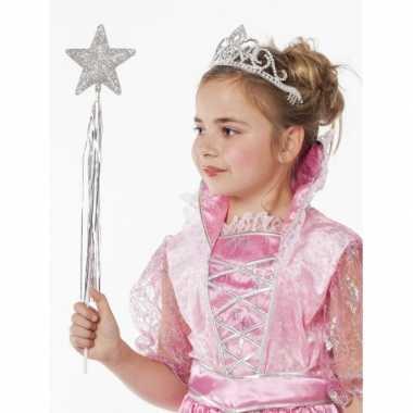 Goedkope prinsessen glitter tiara zilver meisjes